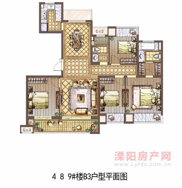 4 8 9#楼B3户型平面图