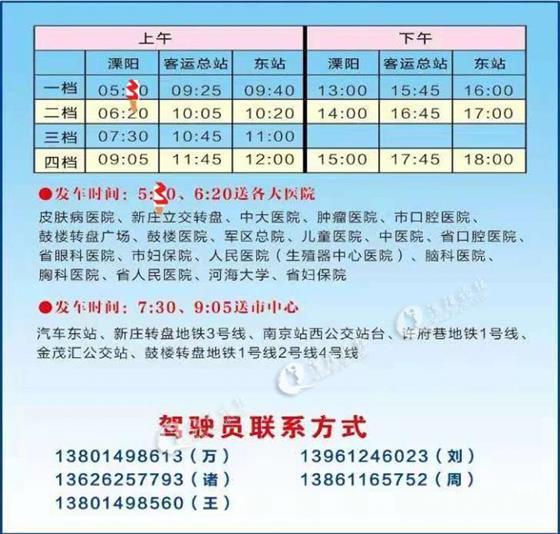 溧阳汽车总站 关于发往南京各大医院班次时间调整