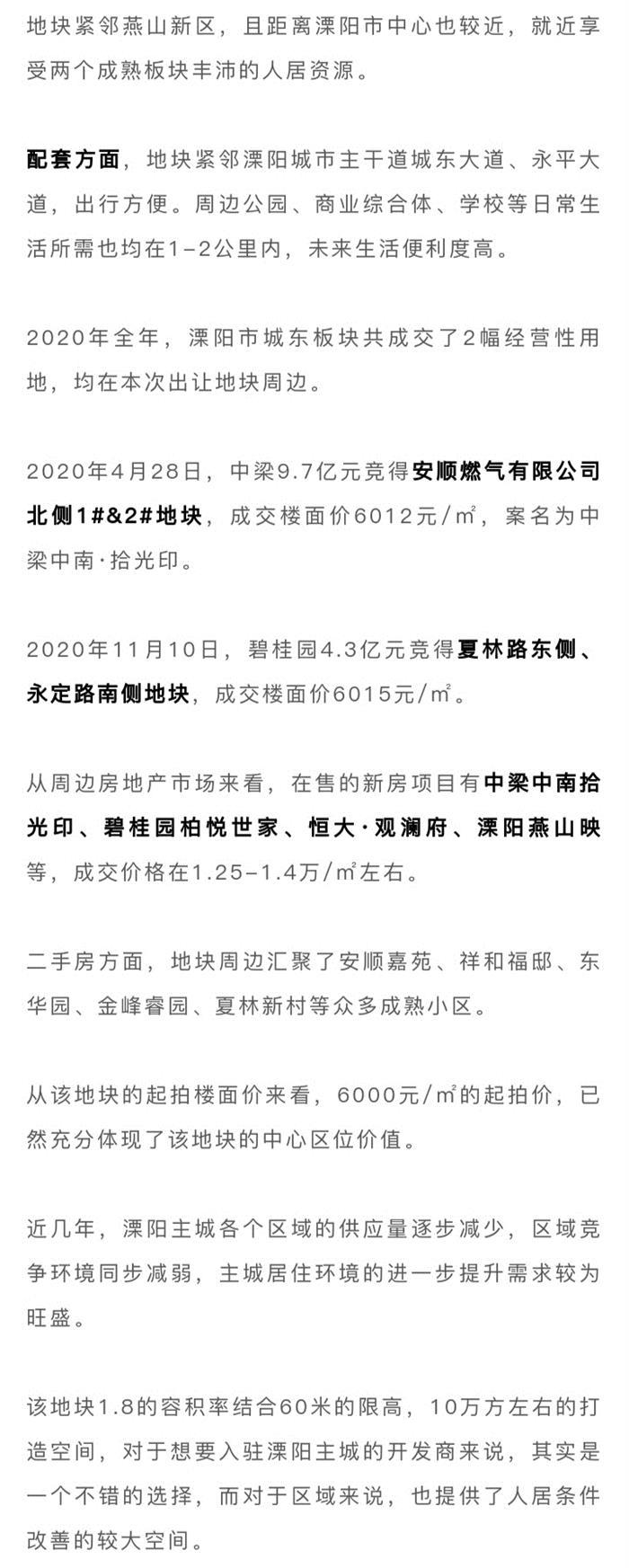 起拍价6000元/㎡,溧阳城东宅地流拍两个月后再挂牌